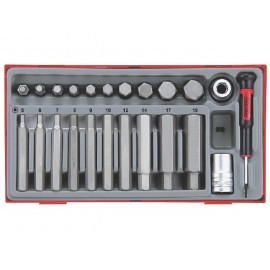 "Sada 1/2"" pevnostných bitov imbus 5 - 19mm, 23 dielov, Teng Tools"