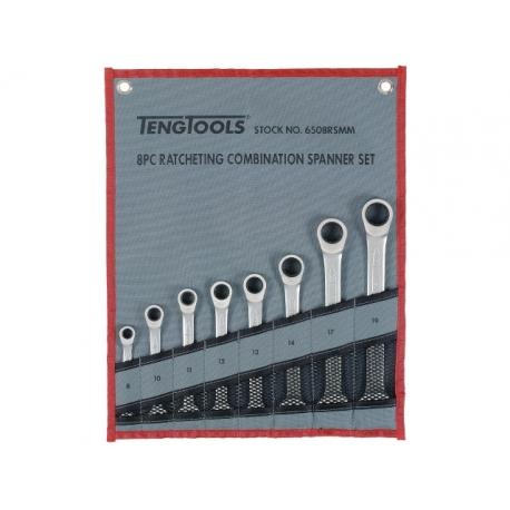 Teng Tools Sada kombinovaných očko-vidlicových račňových kľúčov. Rovný model. Kombinácia kombinovaného kľúča a a 12-hranného rač