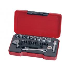 "Sada náradia obsahuje hlavice 1/4"" 4-13mm, inštalatérsky nastaviteľný kľúč, bity"