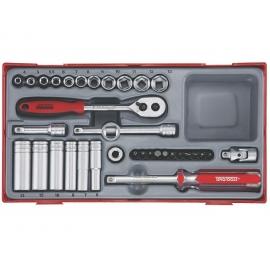 """Gola sada Teng Tools 1/4"""", račňa s príslušenstvom, hlavice 4 - 13mm, 35 dielov, adaptér na bity, predlžovací nadstavec"""