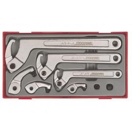 Sada hákových kľúčov 19-120mm, tŕne 4-8mm, 8 dielov, Teng Tools