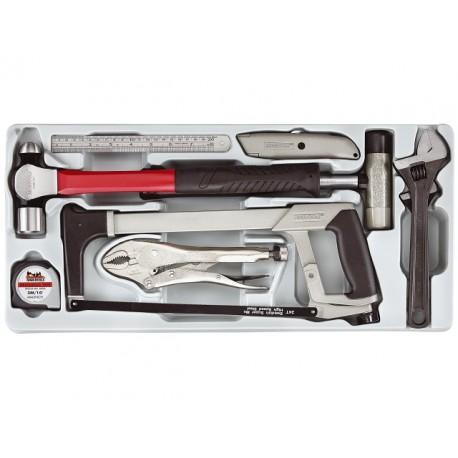 Sada náradia kladivo, pílka, kľúče, kliešte, meter, nôž, 9 dielov, pilka na kov, nastaviteľný kľúč, kladivo,univerzálny nôž, uni