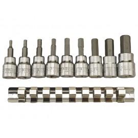 """3/8"""" imbusové hlavice 3 - 12mm, 9 dielov veľkosť hlavíc 3 4 5 5.5 6 7 8 10 12 , nástrčné imbusové hlavice 3/8"""""""