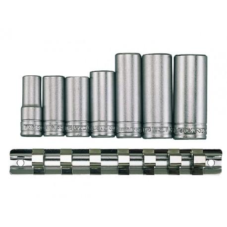 """sada 3/8"""" dlhých nástrčných hlavíc, dĺžka hlavíc od 45 - 65mm, veľkosť hlavíc 10 - 19mm"""