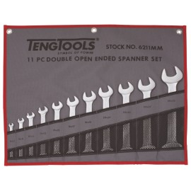 Obojstranné otvorené vidlicové kľúče 6-32 mm v látkovom puzdre, krátke ploché obojstranné kľúče metrické