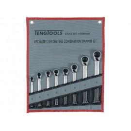 Sada očkoplochých račňových kľúčov 8-19mm, látkové puzdro, Teng Tools