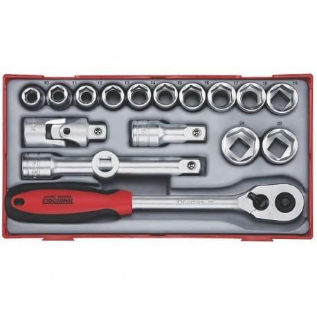 "Sada 1/2"" račňa s príslušenstvom, 10 - 24mm 6hr., 17 dielov, Teng Tools"