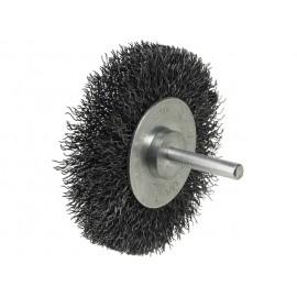 Drôtená kefa na hrdzu so zvlneného oceľového drôtu, veľkosť kefy - priemer: 50 mm, vhodná pre upnutie do vŕtačky