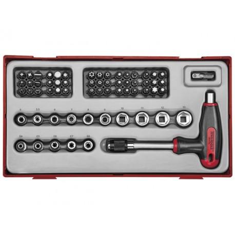 Skrutkovač s T rukoväťou na bity, adaptér, hlavice TTTHQ62 Teng Tools